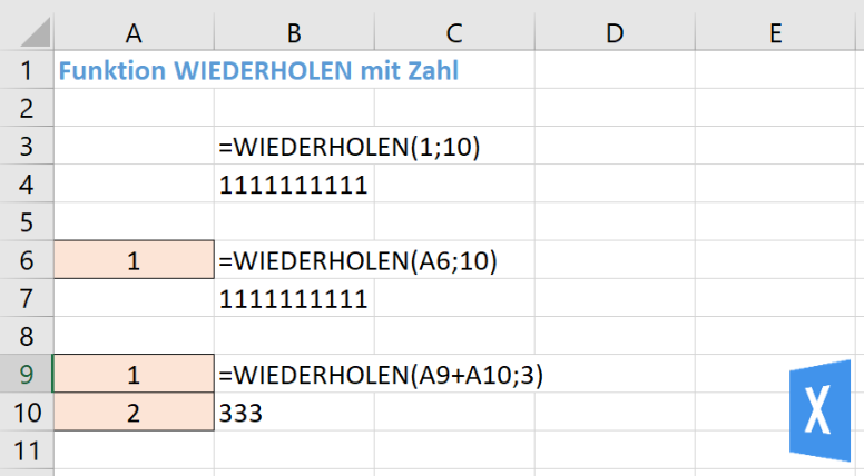 Excel Insight: Die Funktion WIEDERHOLEN funktioniert auch mit Zahlen